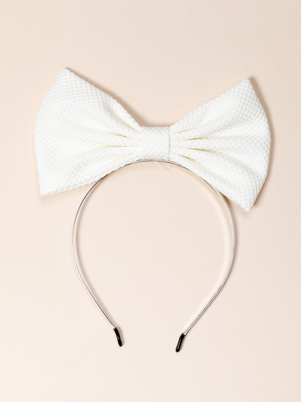 Straight Up Hair Bow Band-White
