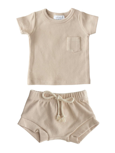 Mebie Baby Oat Cotton Pocket Tee & Short Set
