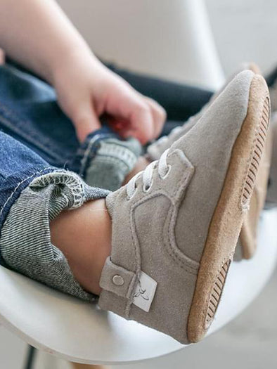 Gray Elastic Laced Oxford Moccasin