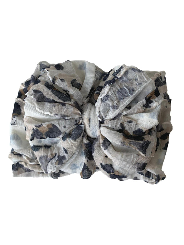 Ruffled Headband - Leopard White