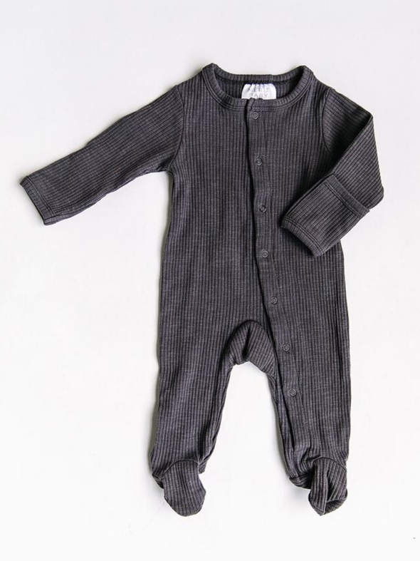 Mebie Baby Ribbed Snap Footie