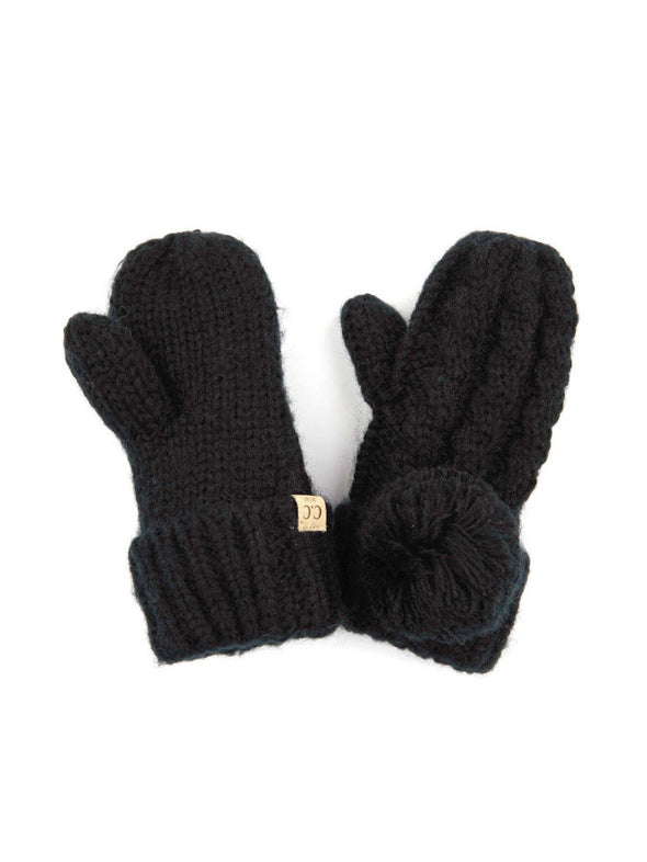 CC Solid Pom Fuzzy Lined Kids Gloves Black