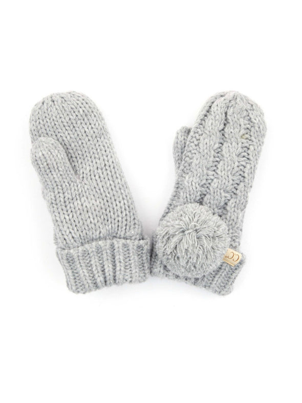 CC Solid Pom Fuzzy Lined Kids Gloves Light Grey
