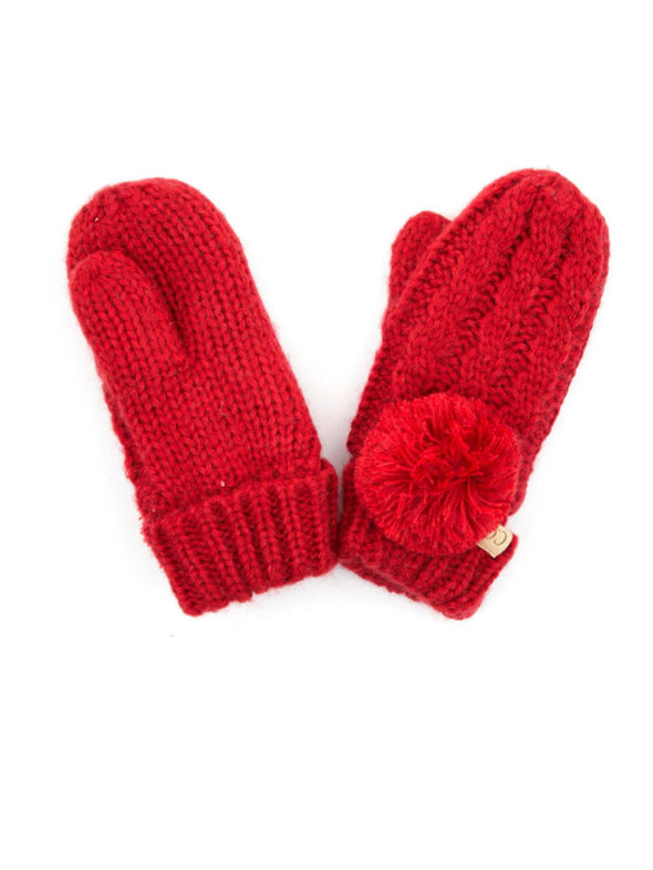 CC Solid Pom Fuzzy Lined Kids Gloves Red