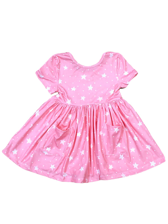 Mila & Rose Pink Star Short Sleeve Pocket Twirl Dress