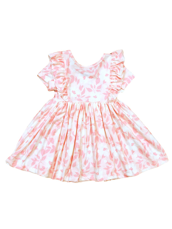 Mila & Rose Pink Buds Short Sleeve Ruffle Twirl Dress