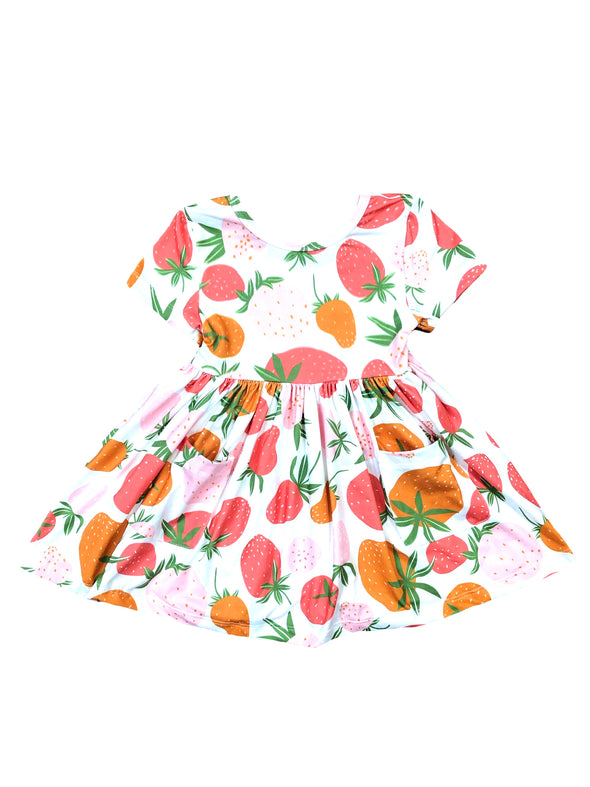 Mila & Rose Berry Sweet Short Sleeve Pocket Twirl Dress