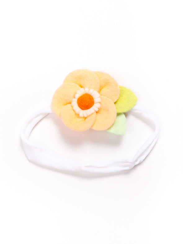 Peek-a-Boo Petals Orange and White Felt Flower Headband