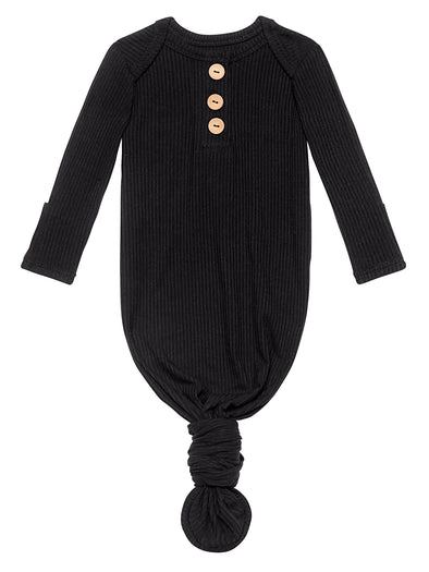 Posh Peanut Black Ribbed Wood Button Knotted Gown