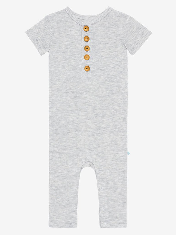 Posh Peanut Athletic Gray Heather Henley Romper