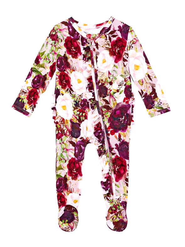 Posh Peanut Gracie Floral Footie Ruffled Zippered One Piece