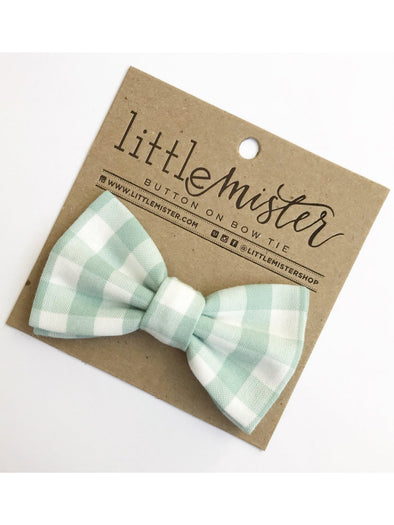 Sage Gingham Bow Tie