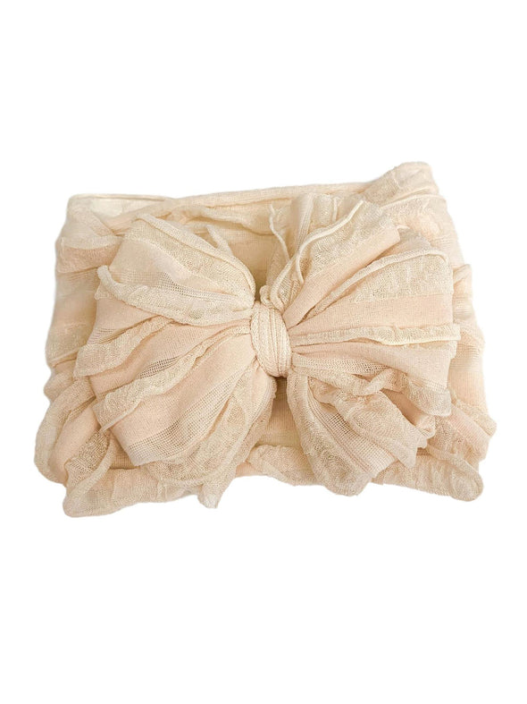 Ruffled Headband - Sugar Cookie