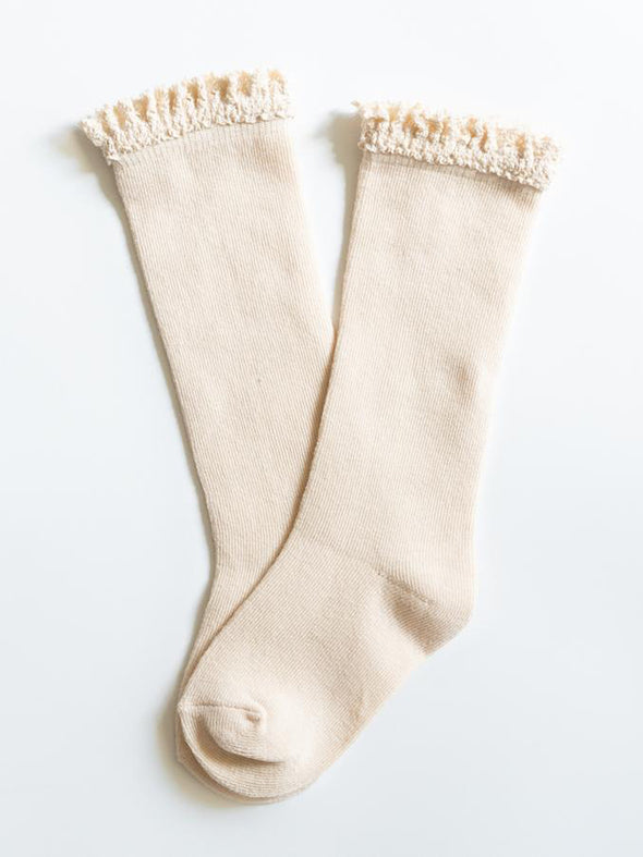 Little Stocking Co. Vanilla Cream Lace Top Knee Highs