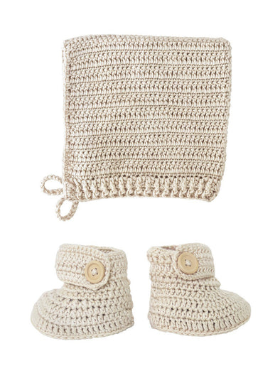 Crochet Bonnet & Bootie Set