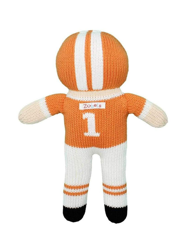 Zubels Orange & White Knit Football Player Rattle Doll