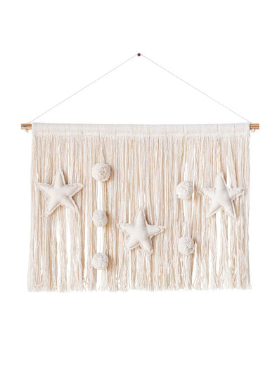 Cotton Natural Wall Hanging with Metallic Threads, Stars and Poms