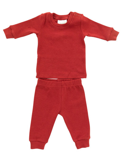 Mebie Baby Berry Holiday Ribbed Two-Piece Set