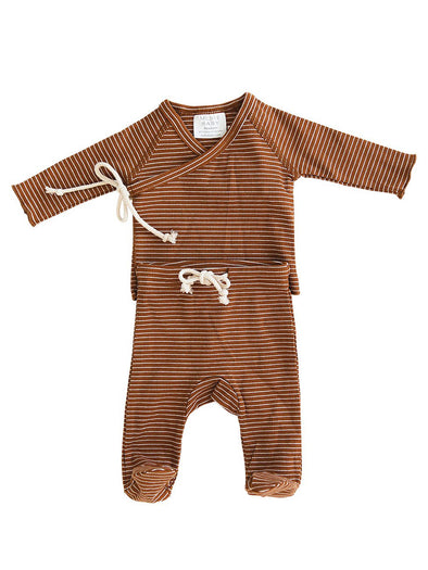 Mebie Baby Rust + White Striped Ribbed Cotton Layette Set