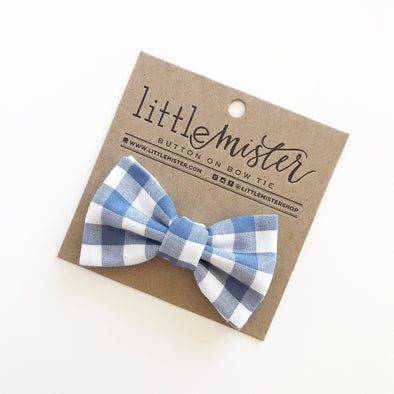 Slate Gingham Bow Tie