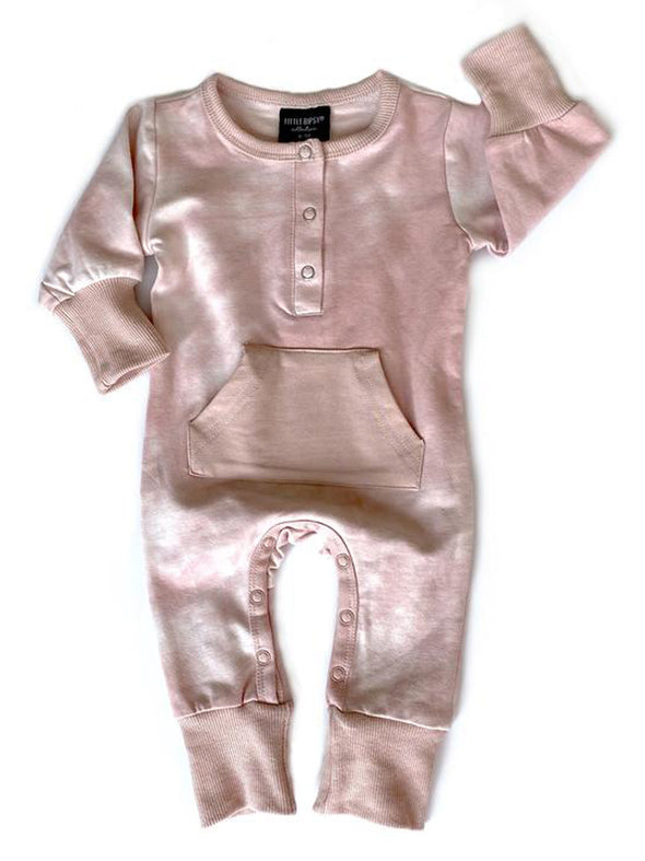 Little Bipsy Long Sleeve Snap Romper - Blush Tie Dye