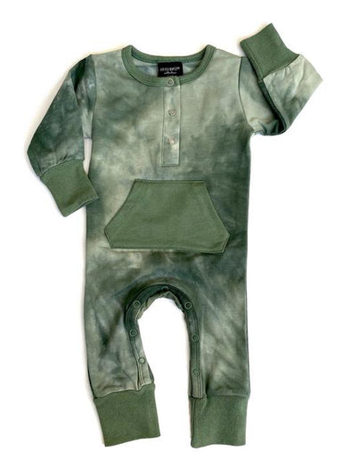 Little Bipsy Long Sleeve Snap Romper - Sage Tie Dye