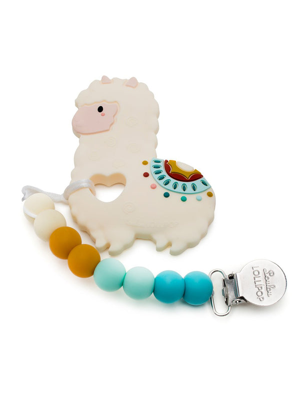 Loulou Lollipop Llama Silicone Teether Holder Set
