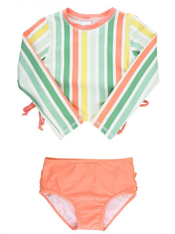 Saltwater Stripe Cropped Rash Guard Bikini