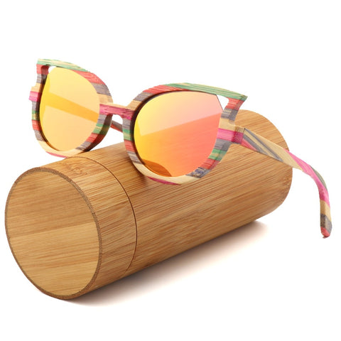 Polarized Bamboo Luxury Cat Eyes Ladies Sunglasses