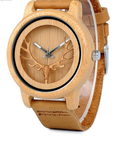 Hollow Deer Head Bamboo Wood Casual Watches with Leather Strap