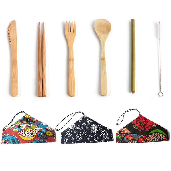 Portable Japanese Bamboo Dinnerware Cutlery Set