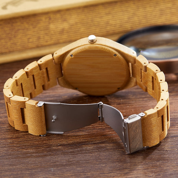 Natural Bamboo Wood Quart Wrist Watch
