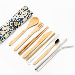 Bamboo Portable Cutlery Dinnerware Set