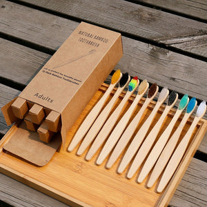 Biodegradable Eco-Friendly Rainbow Bamboo Soft Fibre Toothbrush