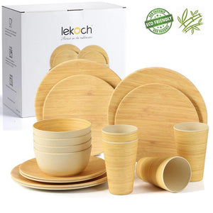 Lekoch Bamboo Fiber 4PCS/16PCS Tableware Set Bamboo pattern Plate Bamboo Powder Fiber dinnerware Plate Bowl Cup Set for Party