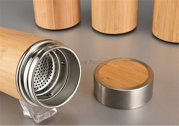 Bamboo Insulated Vacuum Water Bottle With Tea Infuser Strainer