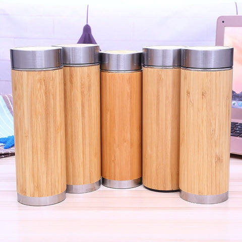 50 Pcs Bamboo Stainless Steel Water Bottle Vacuum Insulated Coffee and Travel Vacuum Cup With Tea Infuser Strainer.