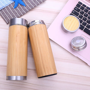 Bamboo Travel Stainless Steel Vacuum Water Cup with Tea Infuser Strainer