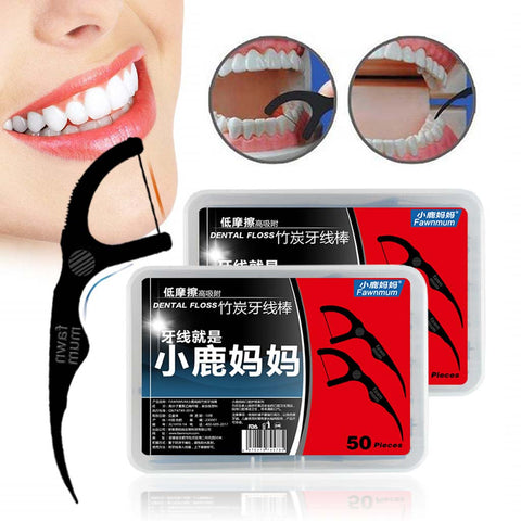 50pcs/Set  Bamboo Charcoal Dental Floss