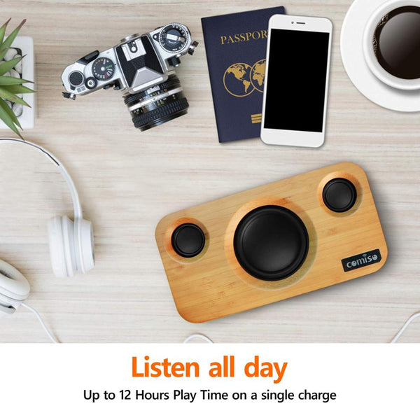 25W Bluetooth Dual-Driver Wireless Bamboo Wood Stereo Speakers