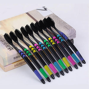 Adult Professional Black 10pcs/set Bamboo Toothbrushes with Double Ultra Soft