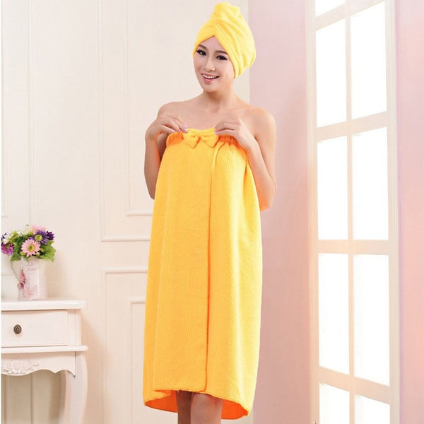 High Quality Absorbent Bamboo Fiber Hair Dryer Cap and Bath Robe