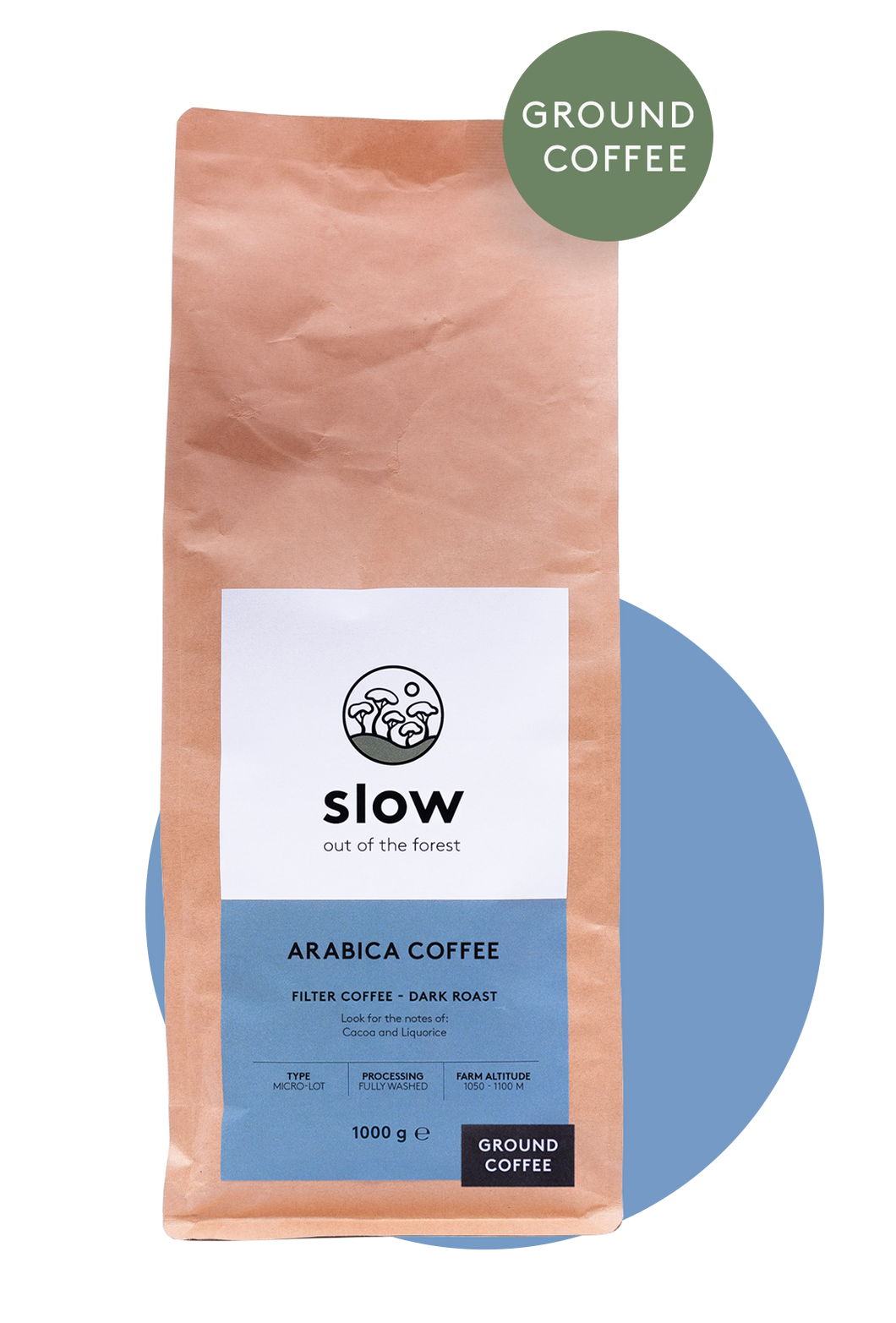 Slow Dark Roast 1kg (Ground)