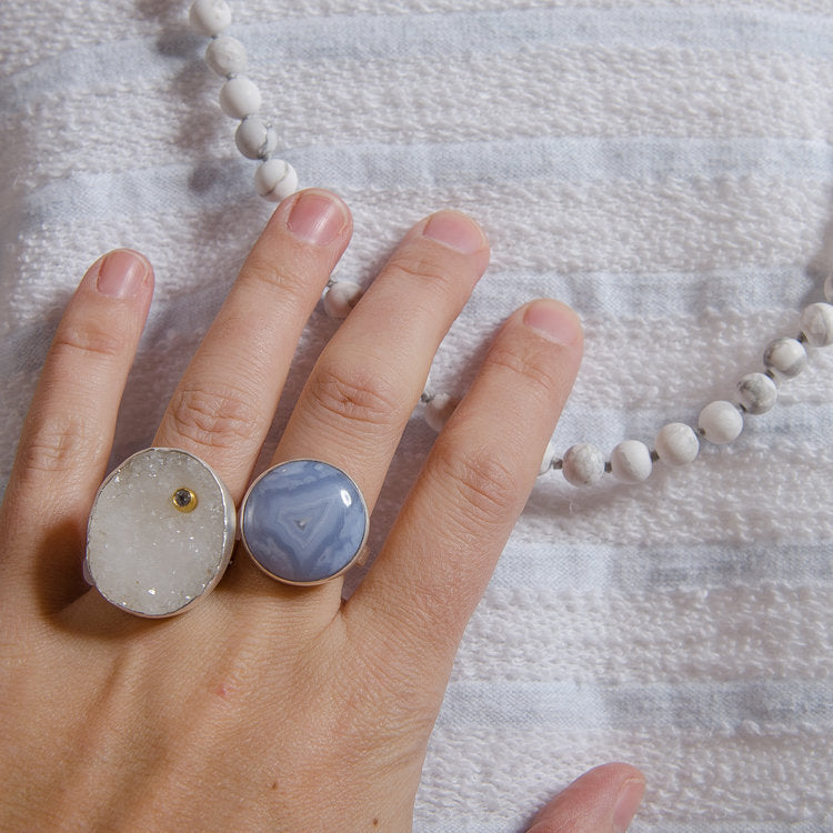 white druzy quartz and blue lace agate with howlite beads