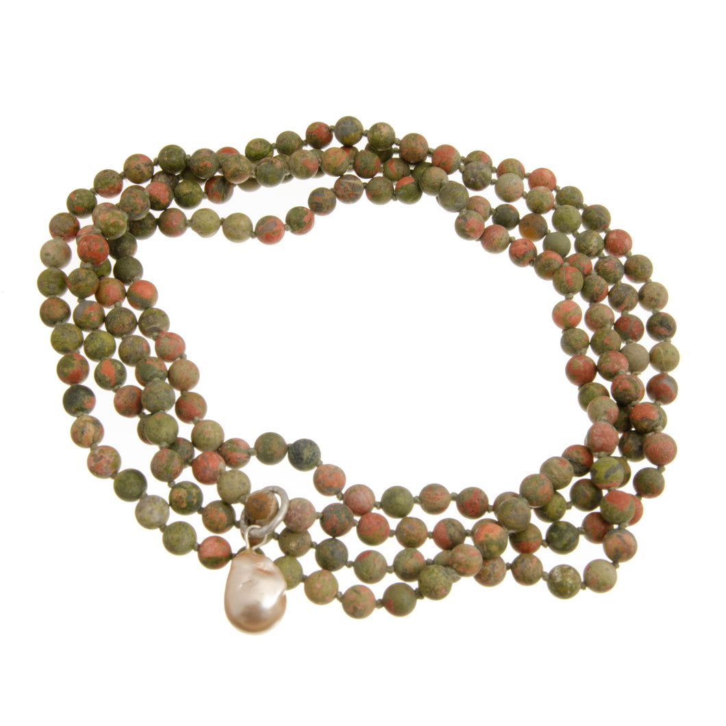 UNAKITE BEADS LONG + PEARL
