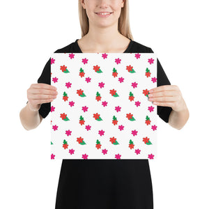 Little Pink Flowers Vector Drawing by Emily Rose