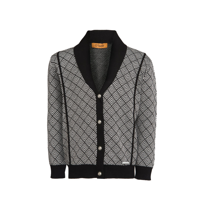 Cowl Neck Boys Cardigan Black Shawl Collar - OTedd
