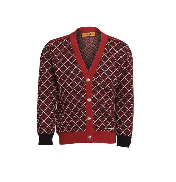 Royal Red Herringbone Boys Cardigan - OTedd