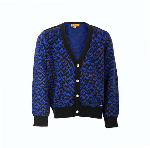 Royal Blue Herringbone Boys Cardigan - OTedd