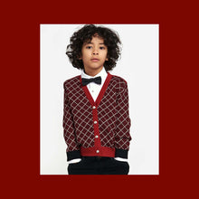 Load image into Gallery viewer, Royal Red Herringbone Boys Cardigan - OTedd